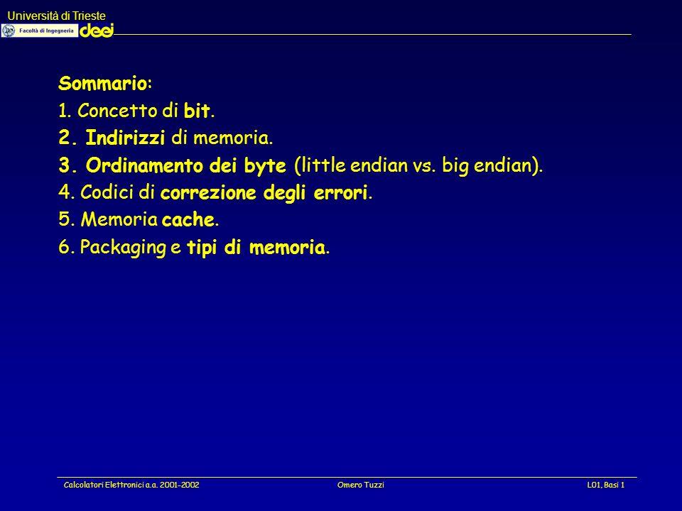 Università di Trieste Calcolatori Elettronici a.a. 2001-2002Omero TuzziL01, Basi 32