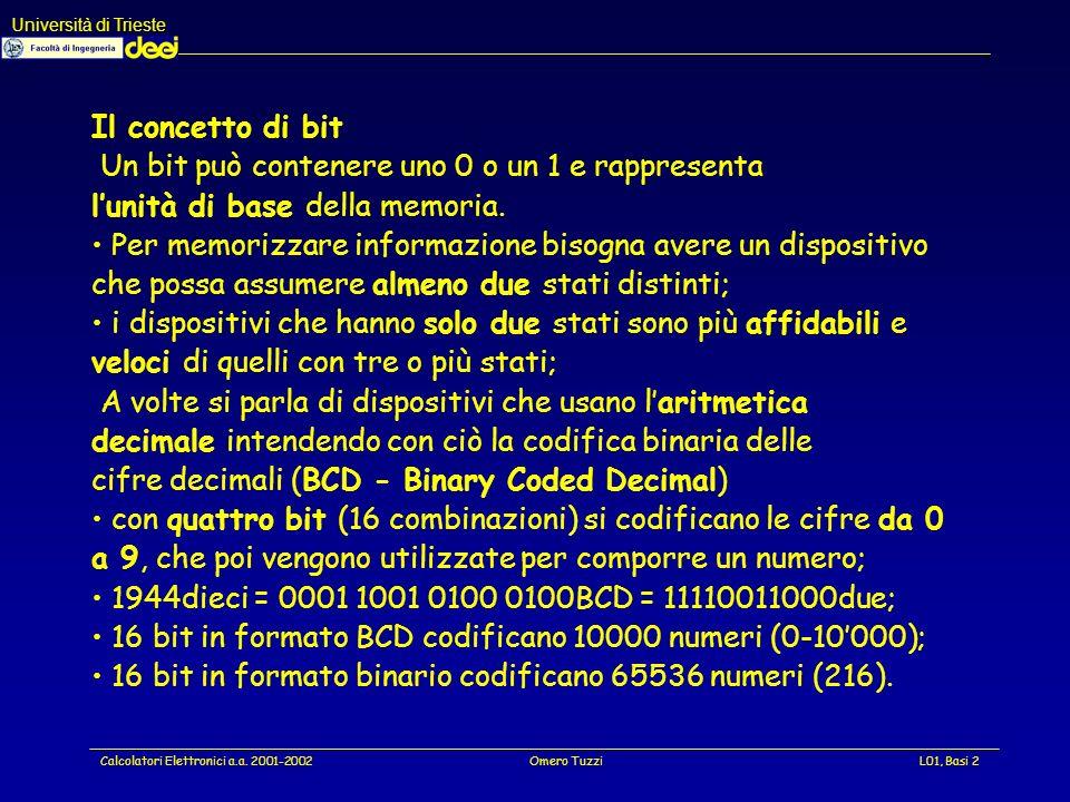 Università di Trieste Calcolatori Elettronici a.a. 2001-2002Omero TuzziL01, Basi 33