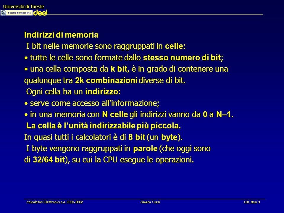 Università di Trieste Calcolatori Elettronici a.a. 2001-2002Omero TuzziL01, Basi 34