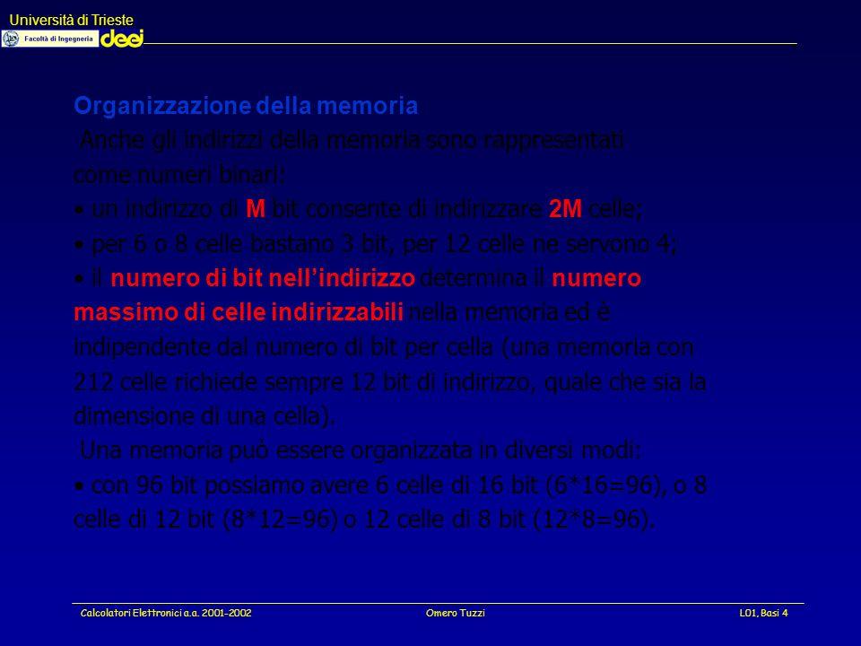 Università di Trieste Calcolatori Elettronici a.a. 2001-2002Omero TuzziL01, Basi 35