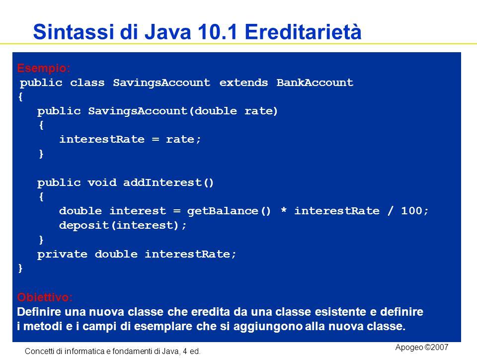 Concetti di informatica e fondamenti di Java, 4 ed. Apogeo ©2007 Sintassi di Java 10.1 Ereditarietà Esempio: public class SavingsAccount extends BankA