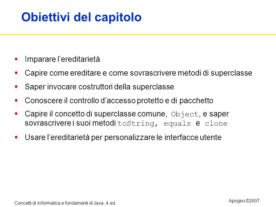 Concetti di informatica e fondamenti di Java, 4 ed. Apogeo ©2007 Obiettivi del capitolo Imparare lereditarietà Capire come ereditare e come sovrascriv