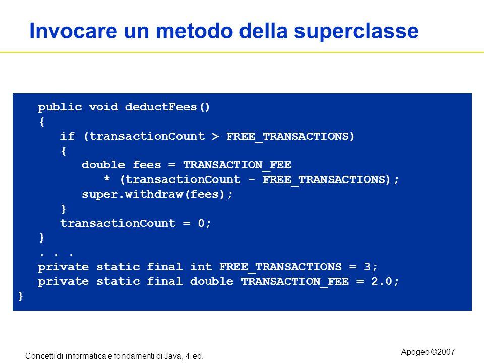 Concetti di informatica e fondamenti di Java, 4 ed. Apogeo ©2007 Invocare un metodo della superclasse public void deductFees() { if (transactionCount