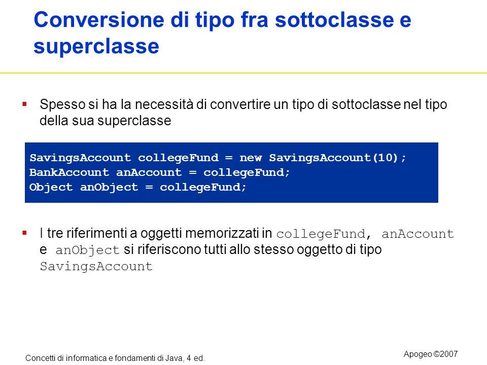 Concetti di informatica e fondamenti di Java, 4 ed. Apogeo ©2007 Conversione di tipo fra sottoclasse e superclasse Spesso si ha la necessità di conver