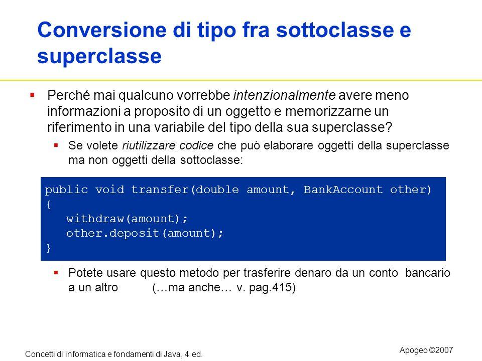 Concetti di informatica e fondamenti di Java, 4 ed. Apogeo ©2007 Conversione di tipo fra sottoclasse e superclasse Perché mai qualcuno vorrebbe intenz