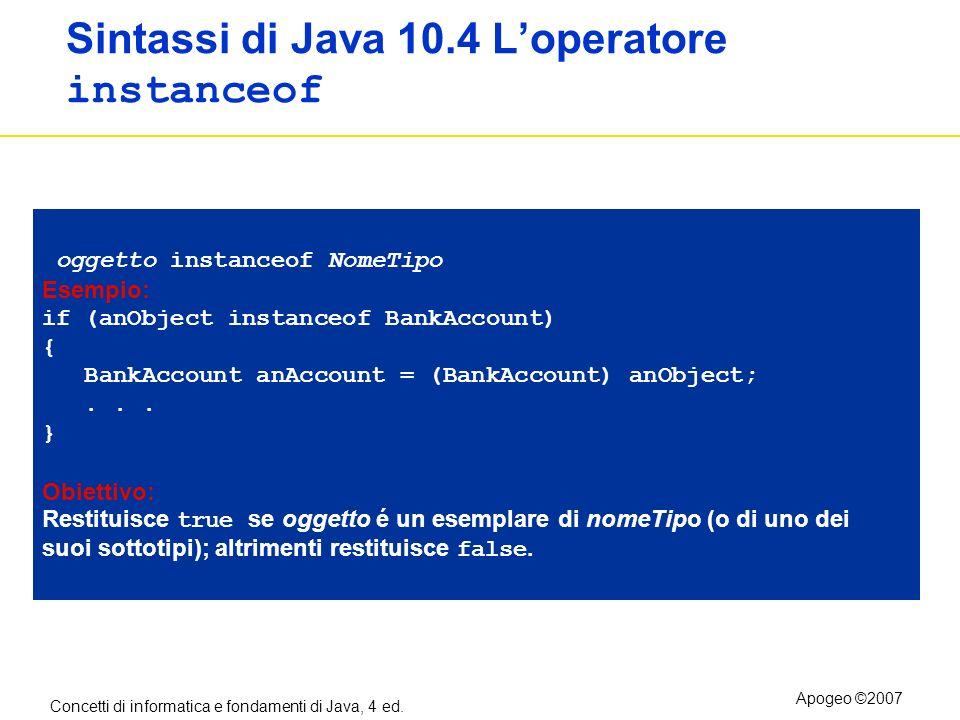 Concetti di informatica e fondamenti di Java, 4 ed. Apogeo ©2007 Sintassi di Java 10.4 Loperatore instanceof oggetto instanceof NomeTipo Esempio: if (