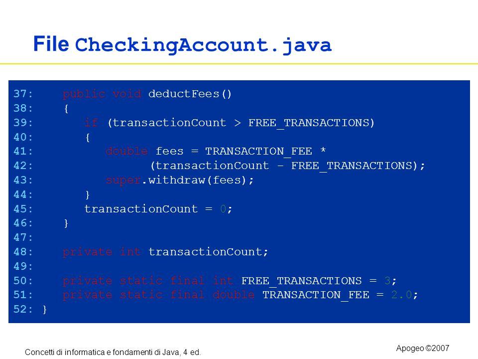 Concetti di informatica e fondamenti di Java, 4 ed. Apogeo ©2007 File CheckingAccount.java 37: public void deductFees() 38: { 39: if (transactionCount