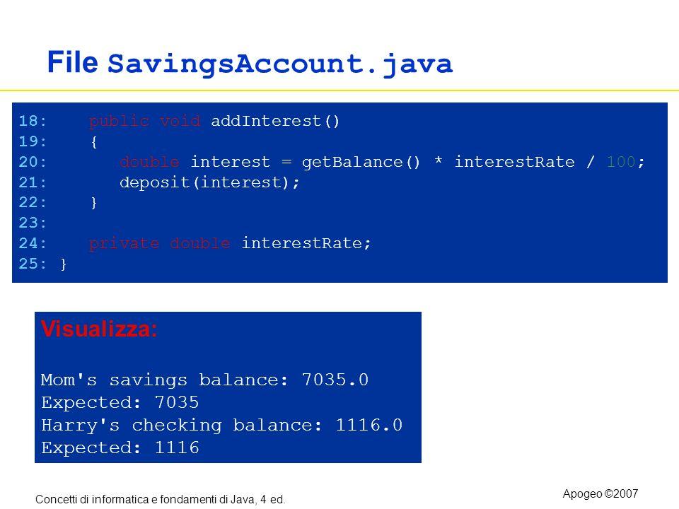 Concetti di informatica e fondamenti di Java, 4 ed. Apogeo ©2007 File SavingsAccount.java 18: public void addInterest() 19: { 20: double interest = ge