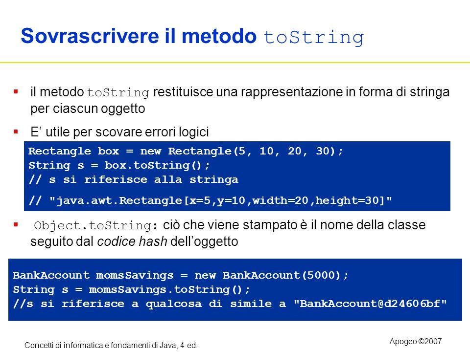 Concetti di informatica e fondamenti di Java, 4 ed. Apogeo ©2007 Sovrascrivere il metodo toString il metodo toString restituisce una rappresentazione