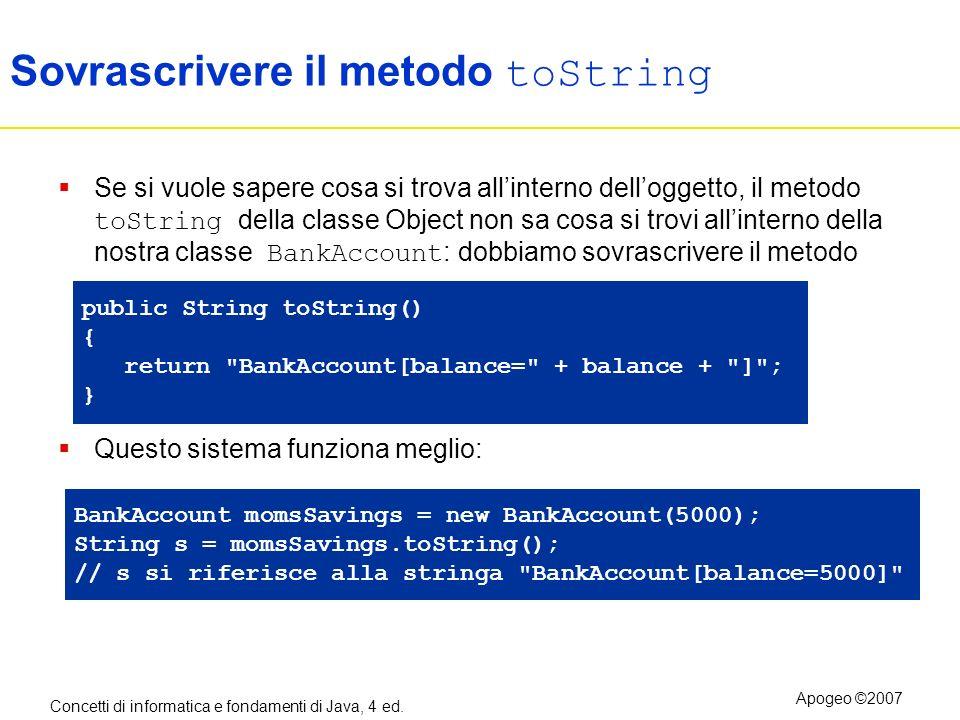 Concetti di informatica e fondamenti di Java, 4 ed. Apogeo ©2007 Sovrascrivere il metodo toString Se si vuole sapere cosa si trova allinterno dellogge