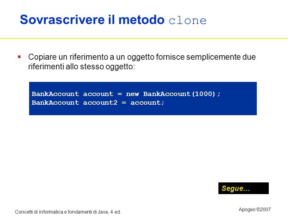Concetti di informatica e fondamenti di Java, 4 ed. Apogeo ©2007 Sovrascrivere il metodo clone Copiare un riferimento a un oggetto fornisce sempliceme