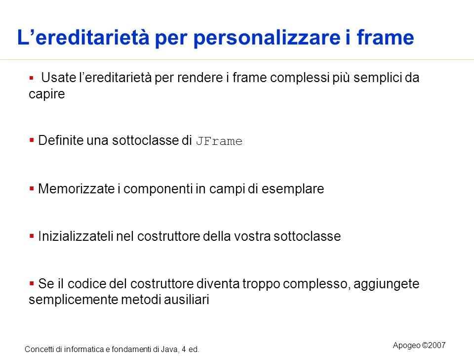 Concetti di informatica e fondamenti di Java, 4 ed. Apogeo ©2007 Lereditarietà per personalizzare i frame Usate lereditarietà per rendere i frame comp