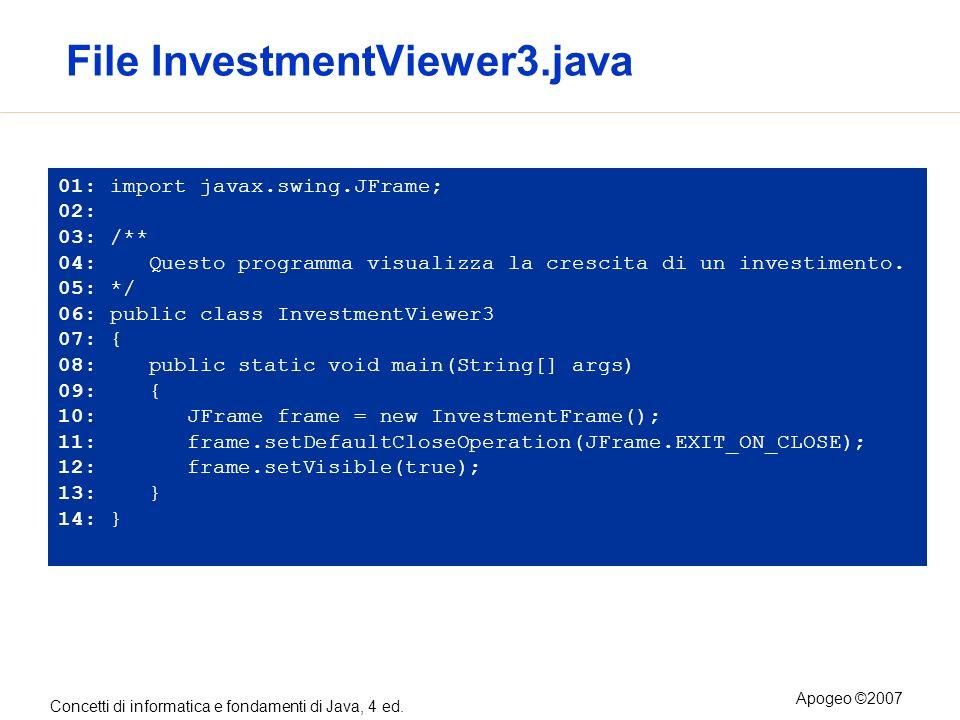Concetti di informatica e fondamenti di Java, 4 ed. Apogeo ©2007 File InvestmentViewer3.java 01: import javax.swing.JFrame; 02: 03: /** 04: Questo pro