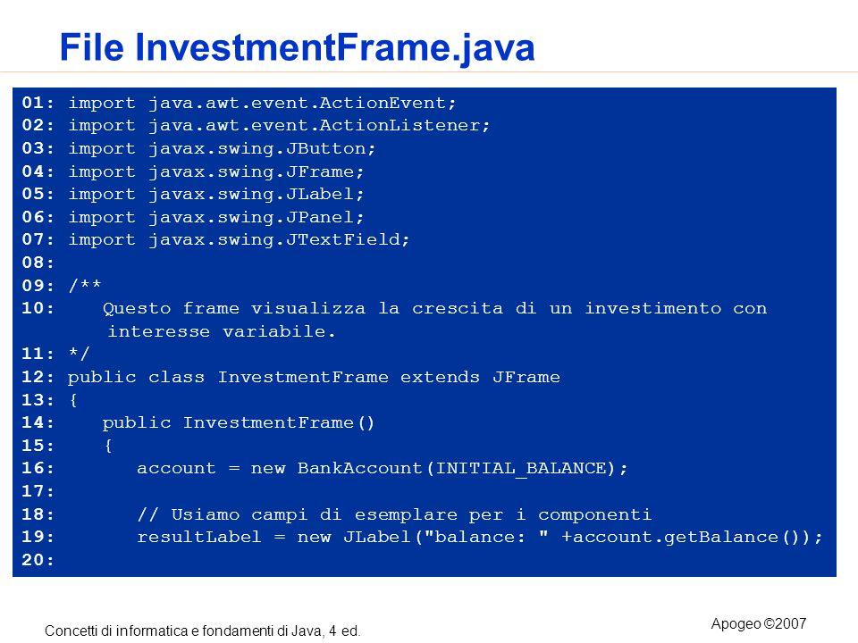 Concetti di informatica e fondamenti di Java, 4 ed. Apogeo ©2007 File InvestmentFrame.java 01: import java.awt.event.ActionEvent; 02: import java.awt.