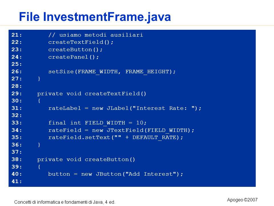 Concetti di informatica e fondamenti di Java, 4 ed. Apogeo ©2007 File InvestmentFrame.java 21: // usiamo metodi ausiliari 22: createTextField(); 23: c