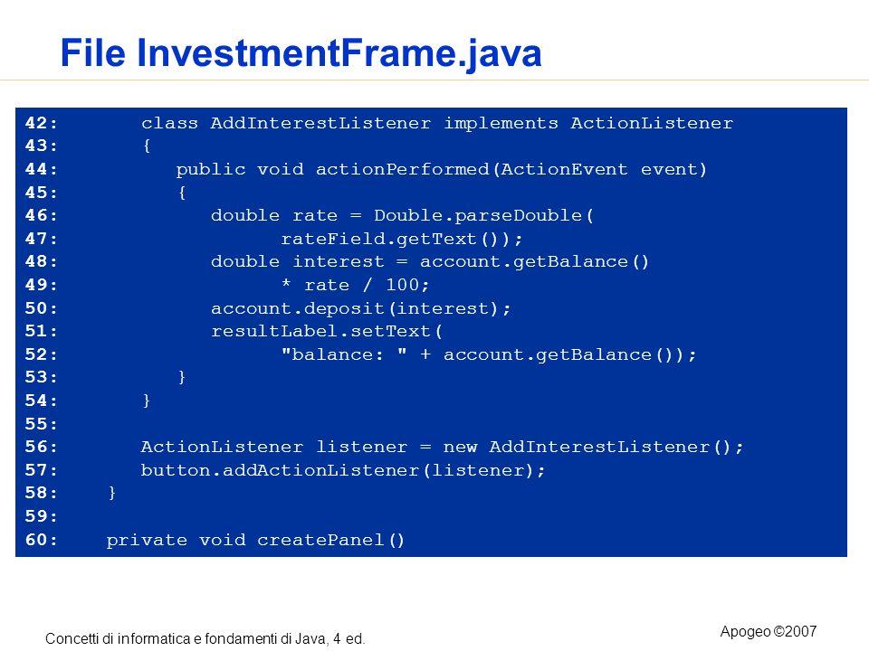 Concetti di informatica e fondamenti di Java, 4 ed. Apogeo ©2007 File InvestmentFrame.java 42: class AddInterestListener implements ActionListener 43: