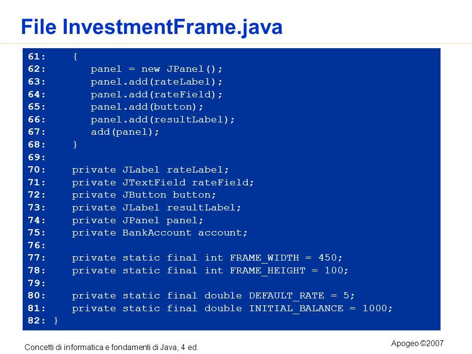 Concetti di informatica e fondamenti di Java, 4 ed. Apogeo ©2007 File InvestmentFrame.java 61: { 62: panel = new JPanel(); 63: panel.add(rateLabel); 6