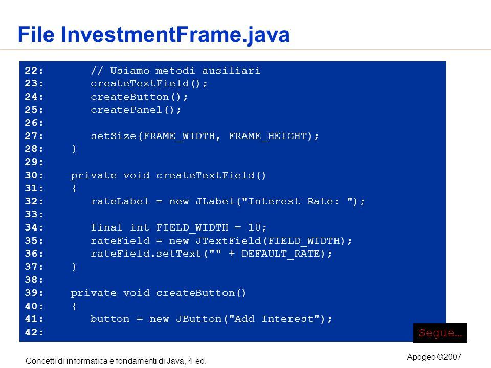 Concetti di informatica e fondamenti di Java, 4 ed. Apogeo ©2007 File InvestmentFrame.java 22: // Usiamo metodi ausiliari 23: createTextField(); 24: c