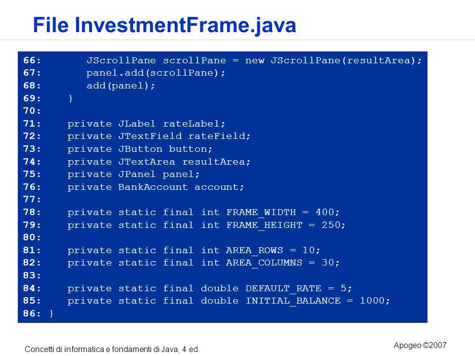Concetti di informatica e fondamenti di Java, 4 ed. Apogeo ©2007 File InvestmentFrame.java 66: JScrollPane scrollPane = new JScrollPane(resultArea); 6