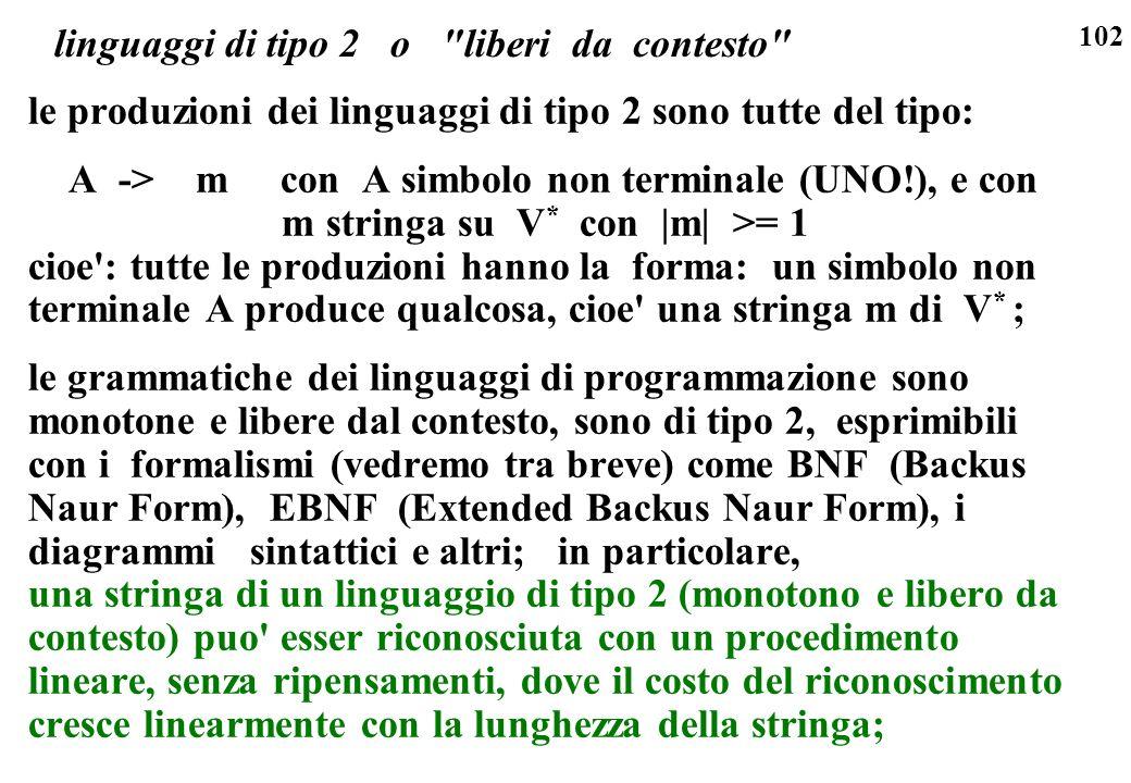 102 linguaggi di tipo 2 o