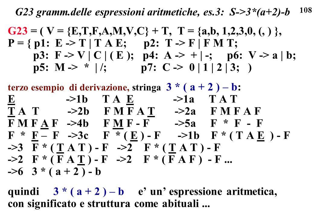 108 G23 gramm.delle espressioni aritmetiche, es.3: S->3*(a+2)-b G23 = ( V = {E,T,F,A,M,V,C} + T, T = {a,b, 1,2,3,0, (, ) }, P = { p1: E -> T | T A E;