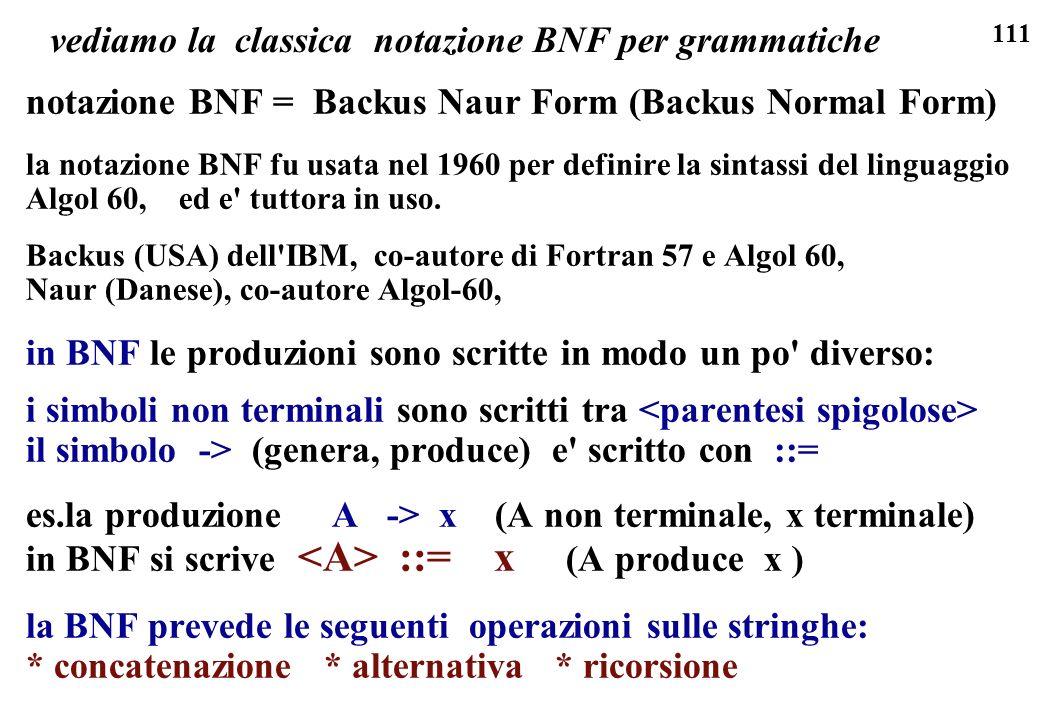 111 vediamo la classica notazione BNF per grammatiche notazione BNF = Backus Naur Form (Backus Normal Form) la notazione BNF fu usata nel 1960 per def