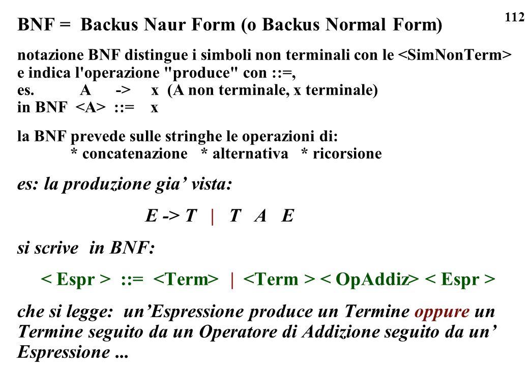 112 BNF = Backus Naur Form (o Backus Normal Form) notazione BNF distingue i simboli non terminali con le e indica l'operazione
