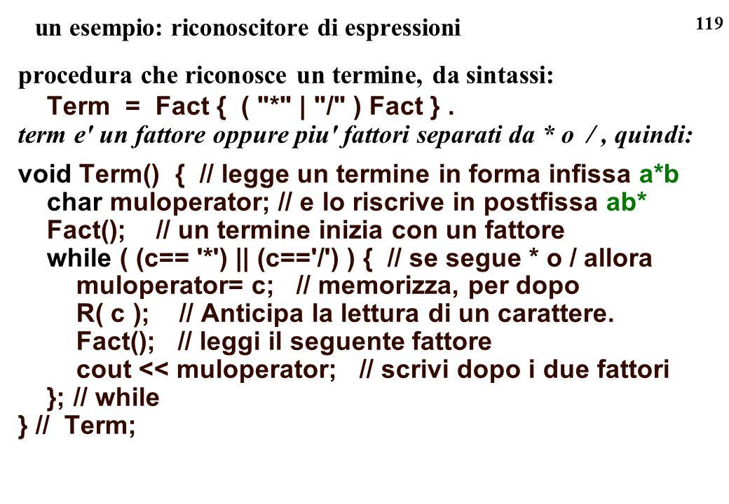 119 un esempio: riconoscitore di espressioni procedura che riconosce un termine, da sintassi: Term = Fact { (