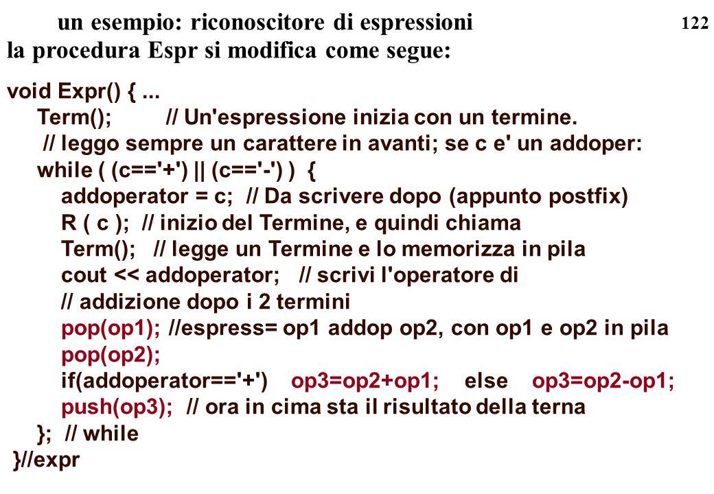 122 un esempio: riconoscitore di espressioni la procedura Espr si modifica come segue: void Expr() {... Term(); // Un'espressione inizia con un termin