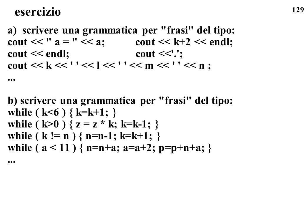 129 esercizio a) scrivere una grammatica per