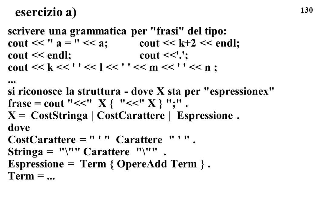 130 esercizio a) scrivere una grammatica per