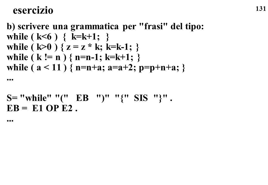131 esercizio b) scrivere una grammatica per