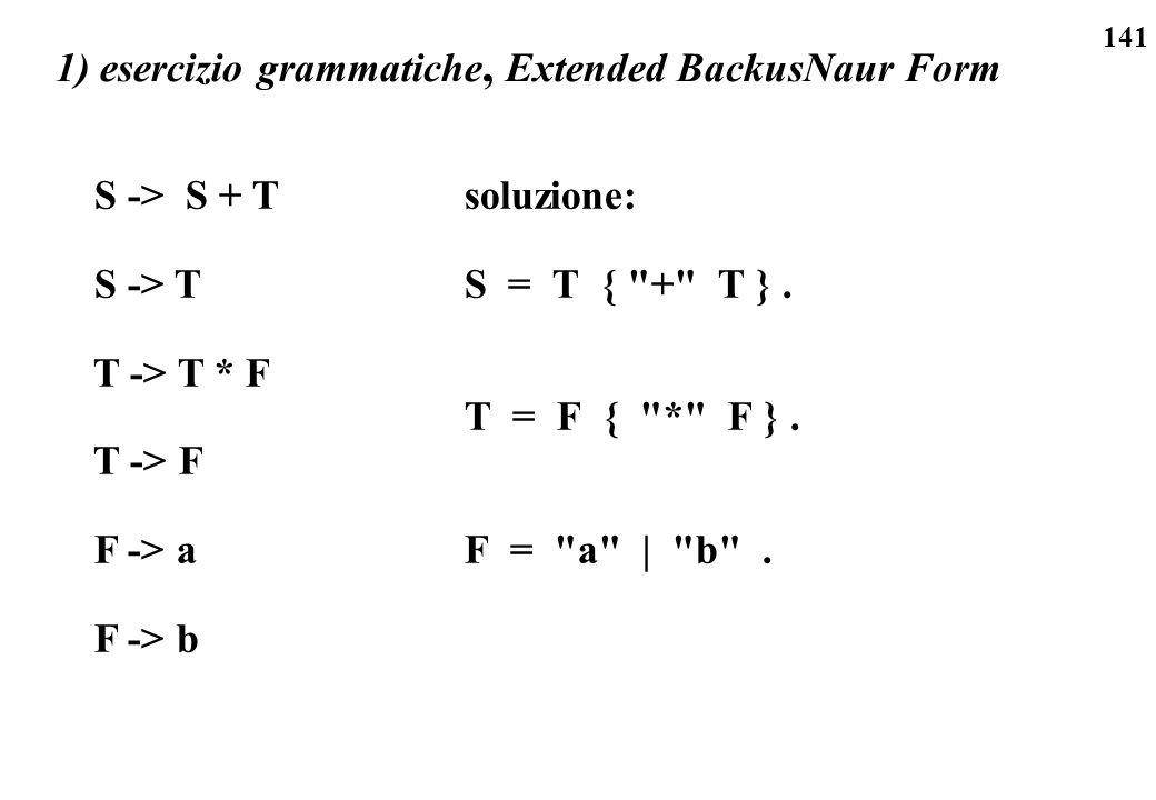 141 1) esercizio grammatiche, Extended BackusNaur Form soluzione: S = T {