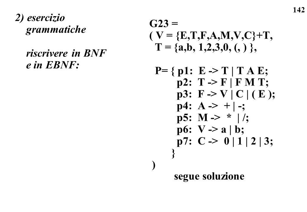 142 2) esercizio grammatiche riscrivere in BNF e in EBNF: G23 = ( V = {E,T,F,A,M,V,C}+T, T = {a,b, 1,2,3,0, (, ) }, P= { p1: E -> T | T A E; p2: T ->