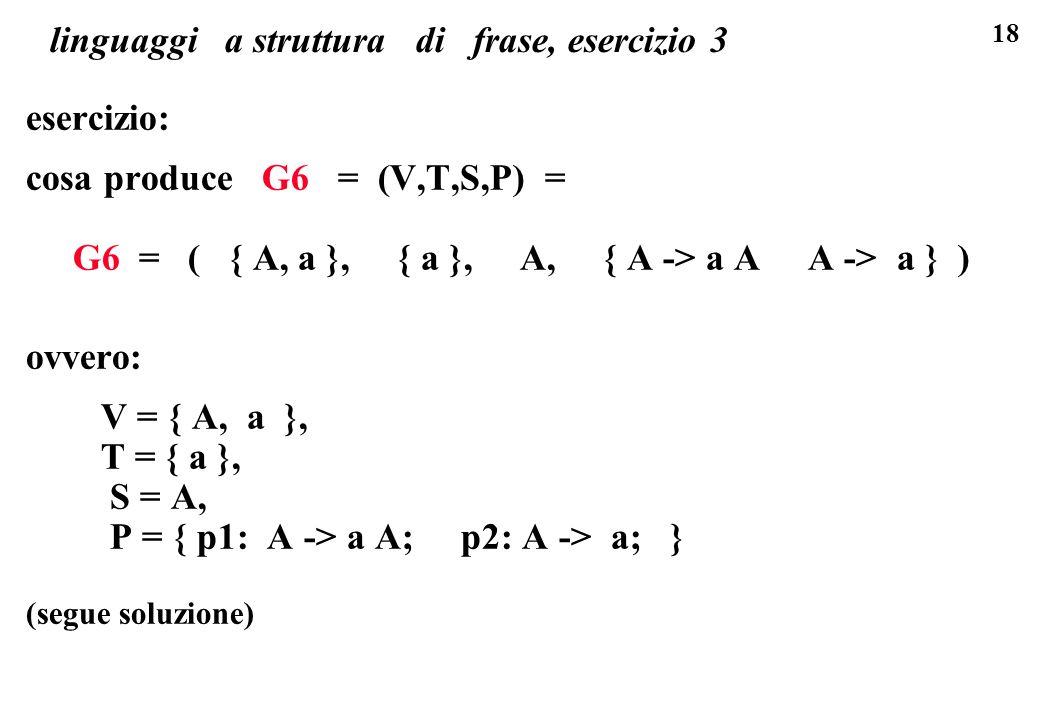 18 linguaggi a struttura di frase, esercizio 3 esercizio: cosa produce G6 = (V,T,S,P) = G6 = ( { A, a }, { a }, A, { A -> a A A -> a } ) ovvero: V = {