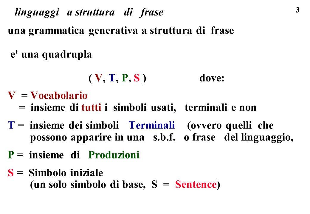 3 linguaggi a struttura di frase una grammatica generativa a struttura di frase e' una quadrupla ( V, T, P, S ) dove: V = Vocabolario = insieme di tut