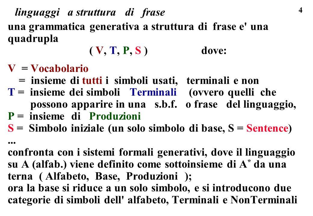 4 linguaggi a struttura di frase una grammatica generativa a struttura di frase e' una quadrupla ( V, T, P, S ) dove: V = Vocabolario = insieme di tut