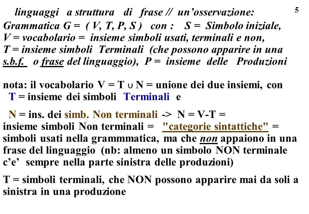 5 linguaggi a struttura di frase // unosservazione: Grammatica G = ( V, T, P, S ) con : S = Simbolo iniziale, V = vocabolario = insieme simboli usati,