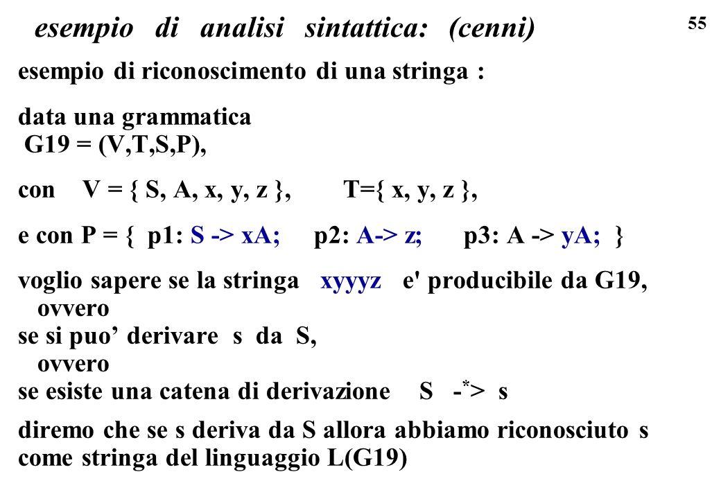 55 esempio di analisi sintattica: (cenni) esempio di riconoscimento di una stringa : data una grammatica G19 = (V,T,S,P), con V = { S, A, x, y, z }, T