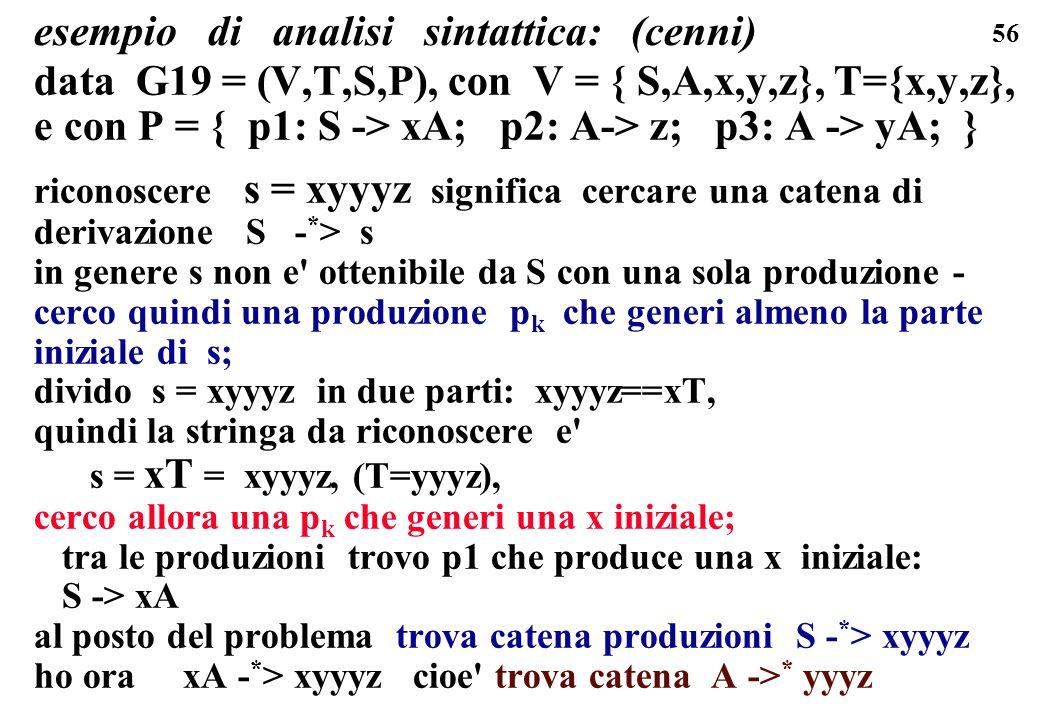 56 esempio di analisi sintattica: (cenni) data G19 = (V,T,S,P), con V = { S,A,x,y,z}, T={x,y,z}, e con P = { p1: S -> xA; p2: A-> z; p3: A -> yA; } ri