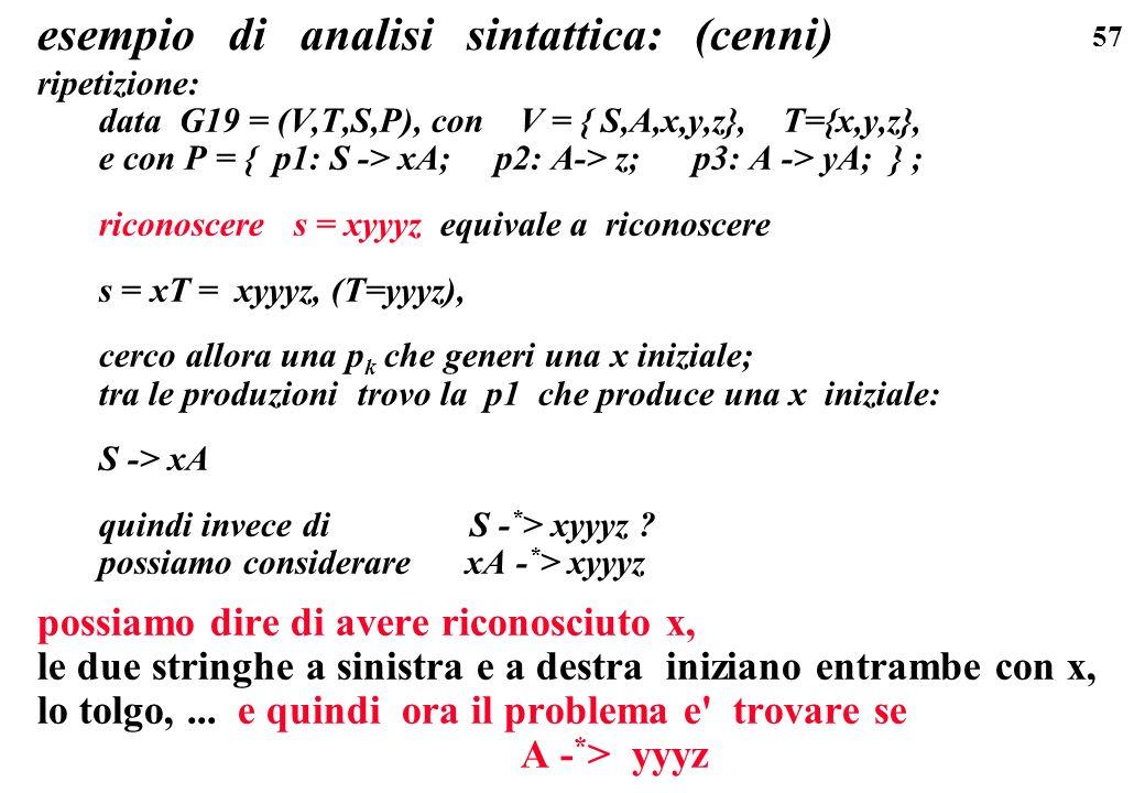 57 esempio di analisi sintattica: (cenni) ripetizione: data G19 = (V,T,S,P), con V = { S,A,x,y,z}, T={x,y,z}, e con P = { p1: S -> xA; p2: A-> z; p3: