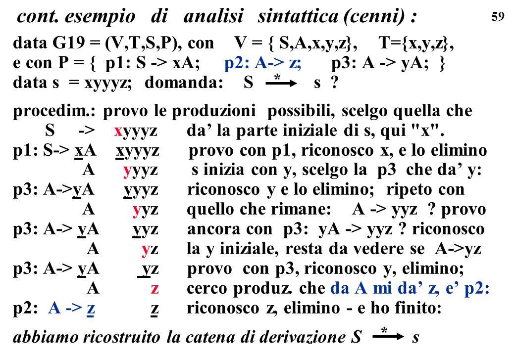 59 cont. esempio di analisi sintattica (cenni) : data G19 = (V,T,S,P), con V = { S,A,x,y,z}, T={x,y,z}, e con P = { p1: S -> xA; p2: A-> z; p3: A -> y
