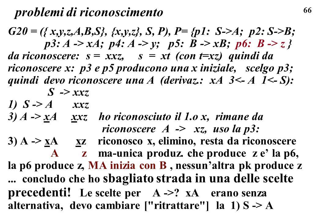 66 problemi di riconoscimento G20 = ({ x,y,z,A,B,S}, {x,y,z}, S, P), P= {p1: S->A; p2: S->B; p3: A -> xA; p4: A -> y; p5: B -> xB; p6: B -> z } da ric
