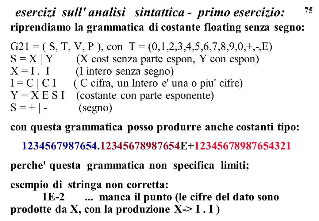 75 esercizi sull' analisi sintattica - primo esercizio: riprendiamo la grammatica di costante floating senza segno: G21 = ( S, T, V, P ), con T = (0,1