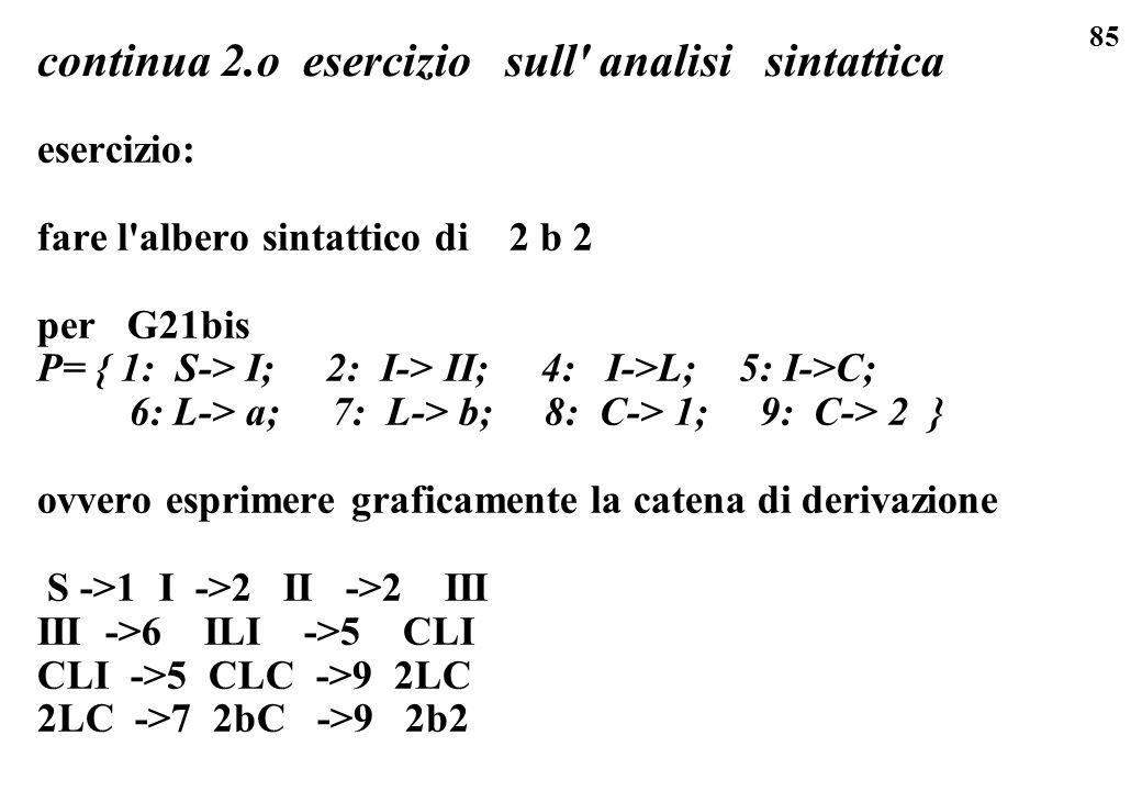 85 continua 2.o esercizio sull' analisi sintattica esercizio: fare l'albero sintattico di 2 b 2 per G21bis P= { 1: S-> I; 2: I-> II; 4: I->L; 5: I->C;
