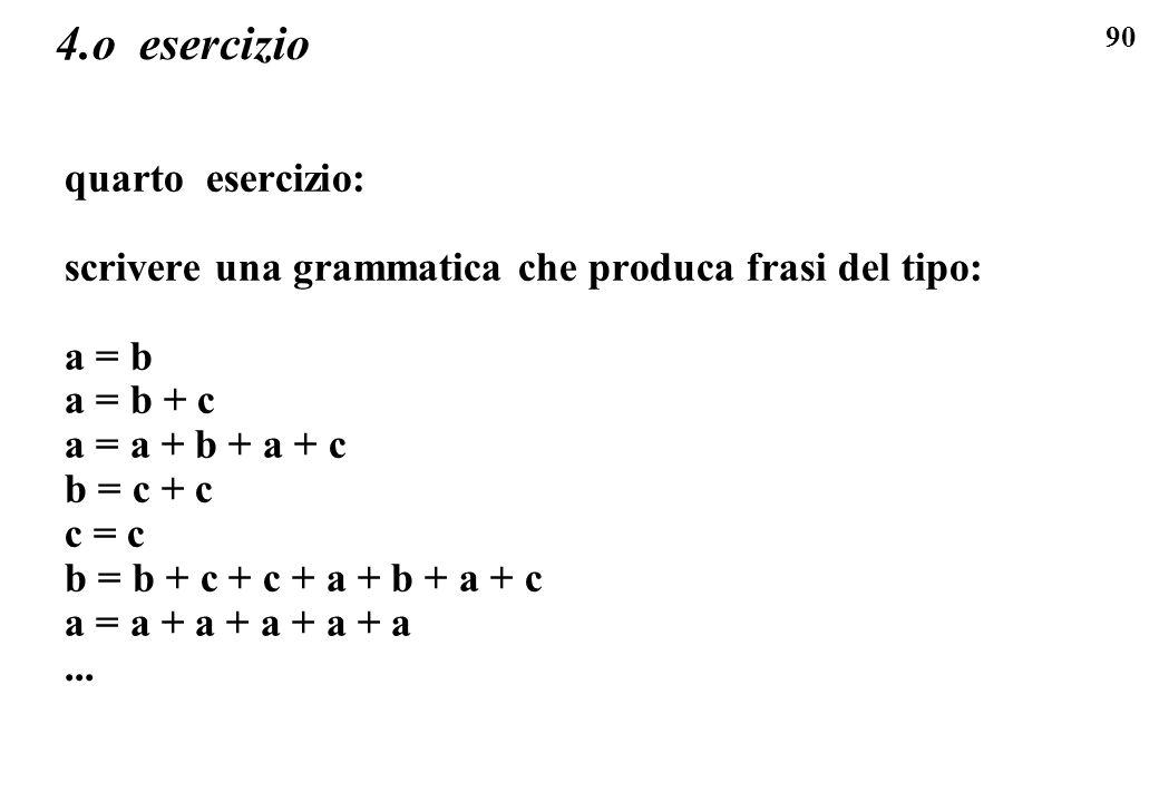 90 4.o esercizio quarto esercizio: scrivere una grammatica che produca frasi del tipo: a = b a = b + c a = a + b + a + c b = c + c c = c b = b + c + c