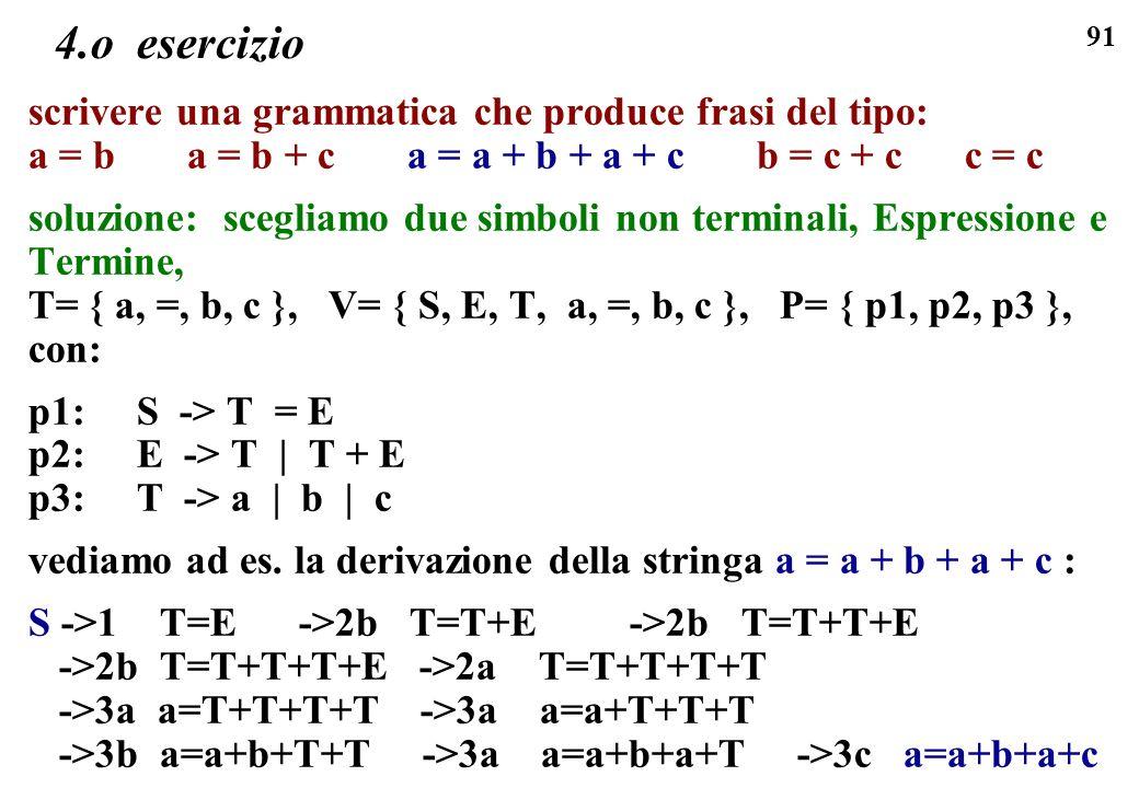 91 4.o esercizio scrivere una grammatica che produce frasi del tipo: a = b a = b + c a = a + b + a + c b = c + c c = c soluzione: scegliamo due simbol