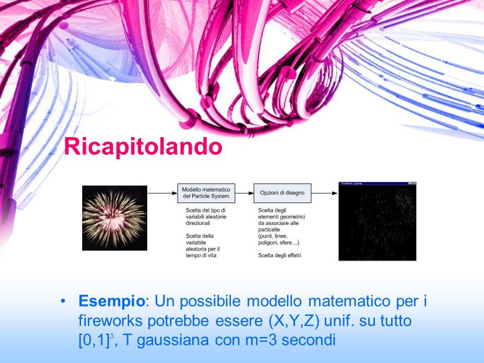 Esempio: Un possibile modello matematico per i fireworks potrebbe essere (X,Y,Z) unif. su tutto [0,1] 3, T gaussiana con m=3 secondi Ricapitolando
