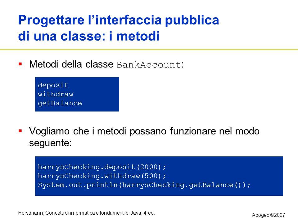 Horstmann, Concetti di informatica e fondamenti di Java, 4 ed. Apogeo ©2007 Progettare linterfaccia pubblica di una classe: i metodi Metodi della clas