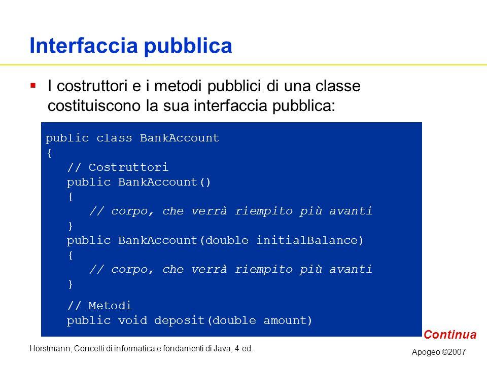 Horstmann, Concetti di informatica e fondamenti di Java, 4 ed. Apogeo ©2007 Interfaccia pubblica I costruttori e i metodi pubblici di una classe costi